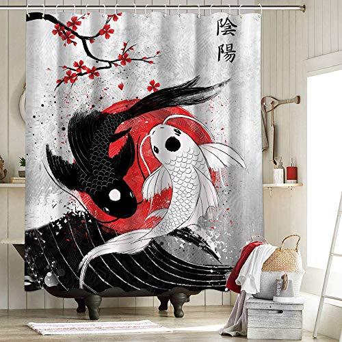 Koi Fish - Cortinas de ducha de arte japonés para baño, impermeable, forro anti rubí, colección Rubyart, Koi Fish Yin Yang Rubyar, decoraciones de Halloween, 130 x 150 cm