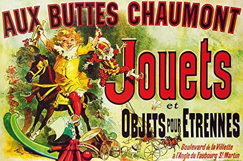 1art1 Vintage Posters XXL - Aux Buttes Chaumont, Jouets Et Objets pour Étrennes, Jules Cheret, 1885 (120 x 80 cm)