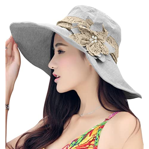 Fakeface Women Large Brim Bucket Hats Anti-UV Foldable Beach Travel Flat Sun  Hat Cap 3183042710a