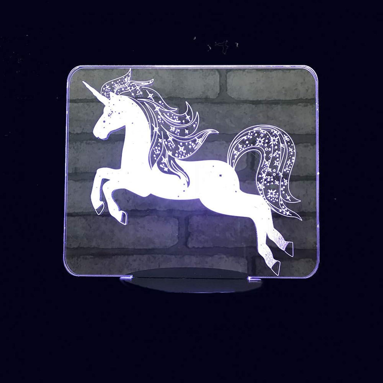 WZYMNYD 7 Cambio de Color Innovador 3D LED Unicornio Modelado Decoración Creativa Luces de Noche para Niños Lámpara de Mesa USB Accesorios de Iluminación