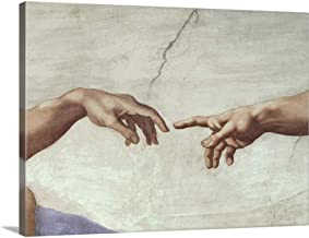 Hands of God and Adam, Detail from The Creation of Adam Canvas Wall Art Print, 24