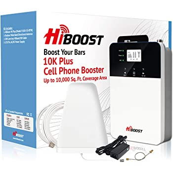 HiBoost Cell Phone Booster, FCC Approved, Built-in Antenna, Up to 10,000 sq ft for AT&T Sprint Verizon T-Mobile 2G 3G 4G Lte Cell Signal Booster for Home