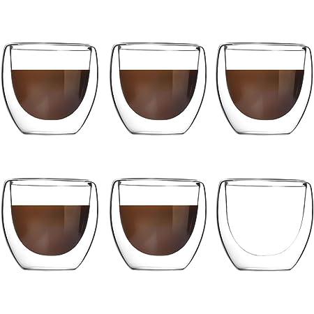 Lot de 6 Tasses à Café Expresso, Tasse à double paroi ,Tasse à Café Transparente à Double Isolation, Adaptée Au Thé Chaud, à L'espresso Italien - 80 ml
