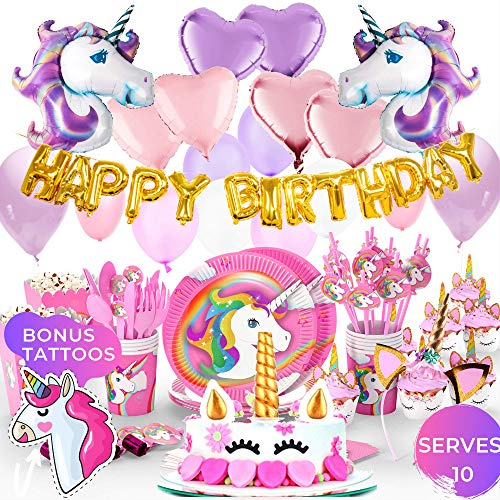 Unicorn Party Supplies- Cake Topper + Cupcake Wrappers | Headband | Party Plates Set for Kids | 32 Balloons | Tattoos | Happy Birthday Banner | Pink and Purple Theme