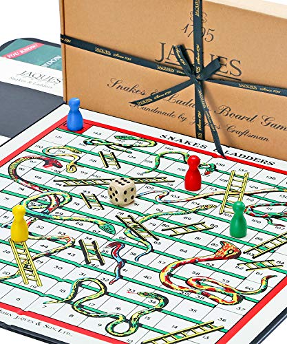 Snakes & Ladders - 12 Snakes and Ladders Board Game with Wooden Pieces by Jaques of London