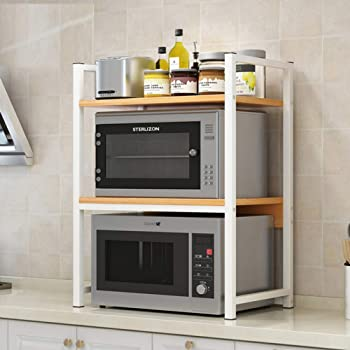 ZXCC Cocina Soporte Estantería De Cocina, Utilidad Almacenamiento Estantería Madera Microondas Multiuso Estantes Especia Gabinete Contador Estantes Metálico Marco Café-c 3-Niveles