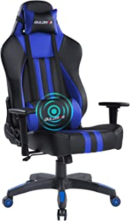 Qulomvs Massage Gaming Chair Ergonomic Computer Gamer Chair High Back 360 Swivel Heavy Duty Video Game Chair for PC Racing Headrest and Lumbar Support (Blue)