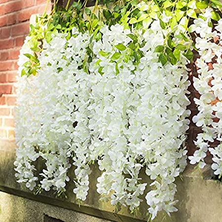 GT Gloptook 6 Pcs Artificial Polyester Hanging Flower Wisteria Vines Fake Flowers Vines for Home Party Wedding Garden Outdoor Greenery Decoration (3.6 Foot Each, Pack of 6, White)