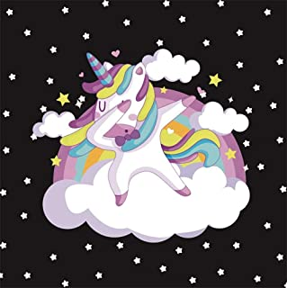 OFILA Unicorn Backdrop 5x5ft Girls Rainbow Unicorn Birthday Party Photos Background Girls Boys Unicorn Photo Booth Unicorn Cake Smash Background Rainbow Unicorn Photos Cool Unicorn Photos