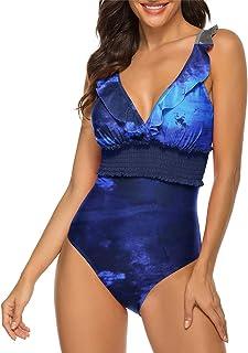 Maketina Women's One Piece Swimsuit Sexy V Neck Ruffle Tummy Control Monokini Bathing Suits