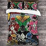 Larduor Po-Wer Ran-Gers Bedding 3 Piece - Funny Twin Comforter Set - Microfiber Bed Sheet for Kids Boys Girls 86'X70'