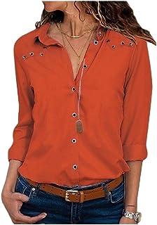 Fieer Womens Button Long-Sleeve Lapel Chiffon Solid Blouses Shirt Tops
