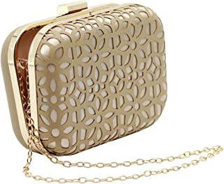 Women Gold Faux Leather Clutch Bag - Chain Diagonal Shoulder Bag, Great for Weekend Party, Wedding, Evening Banquet