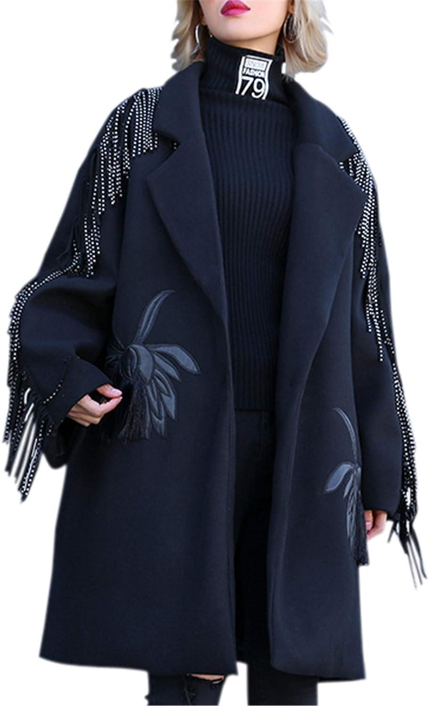G.G.W Womens Outwear Long Blazer Thick One Button Boyfriend Tassel Pocket Punk Fashion