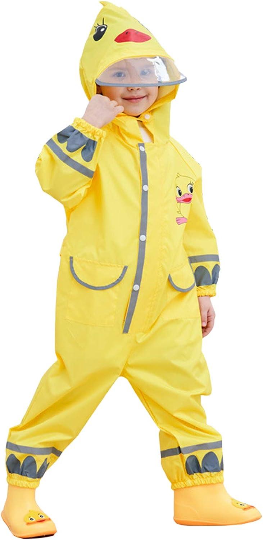 Kids Waterproof Raincoat All-in-One Rain Poncho Rainsuit Reusable Rainwear