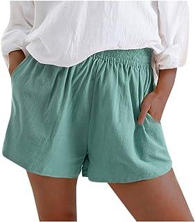 Pantalones Cortos Mujer Verano Playa,Moda Pantalones Cortos De Verano para Mujer Pantalones Cortos Casuales De Color Puro ...