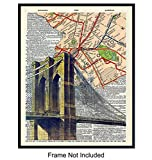 Brooklyn Bridge Subway Dictionary Art, Home Decor - Upcycled Vintage Wall Art Print, Poster- Pop Art Room Decorations or Gift for New Yorker, New York City, NY, NYC, Manhattan Fan, 8x10 Photo Unframed