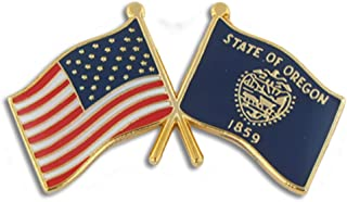 PinMart Oregon and USA Crossed Friendship Flag Enamel Lapel Pin