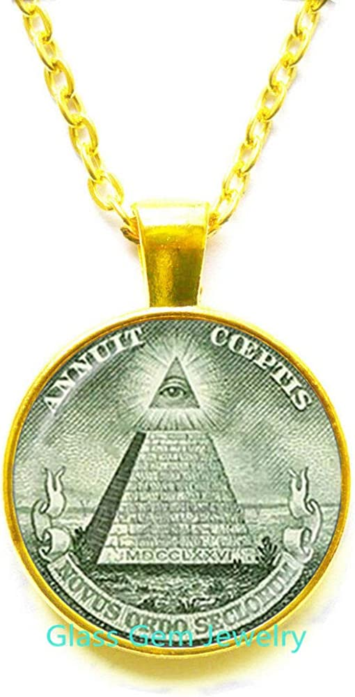 glass gem jewelry Annuit Coeptis Pendant Egypt Pyramid Necklace Eye of Providence Masonic Illuminati Masonic Sign Sacred Geometry Necklace,Q0271