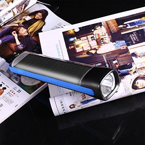 LED Solarenergie Taschenlampe, OUTAD Solar Flashlight Wiederaufladbare Taschenlampe LED Dynamo Lampe Powerbank f¨¹r Wandern,Klettern, Camping,Ourdoor,Notfall (Blau)