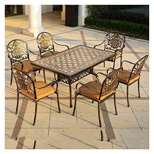 DYYD - Juego de 6 muebles de jardín de hierro forjado de aluminio fundido para exteriores, juego de 6 piezas, juego de mesa redonda para bistró, juego de muebles de jardín de bronce oscuro