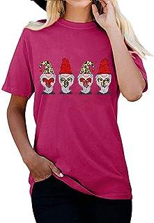 FELZ Camiseta para Mujer Día De San ValentíN Love Impreso Jersey Mujeres Manga Corta Camiseta Cuello Redondo Blusa Básica ...