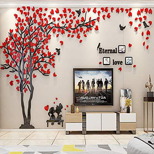 ENCOFT 3D Pegatina de Árbol Vinilos Hojas Negros Adhesivo Decorativo de Pared para Dormitorio Hogar Oficina (L, rojo 1)