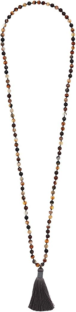 Genuine Gemstone Hand Knotted Necklace with Tassel