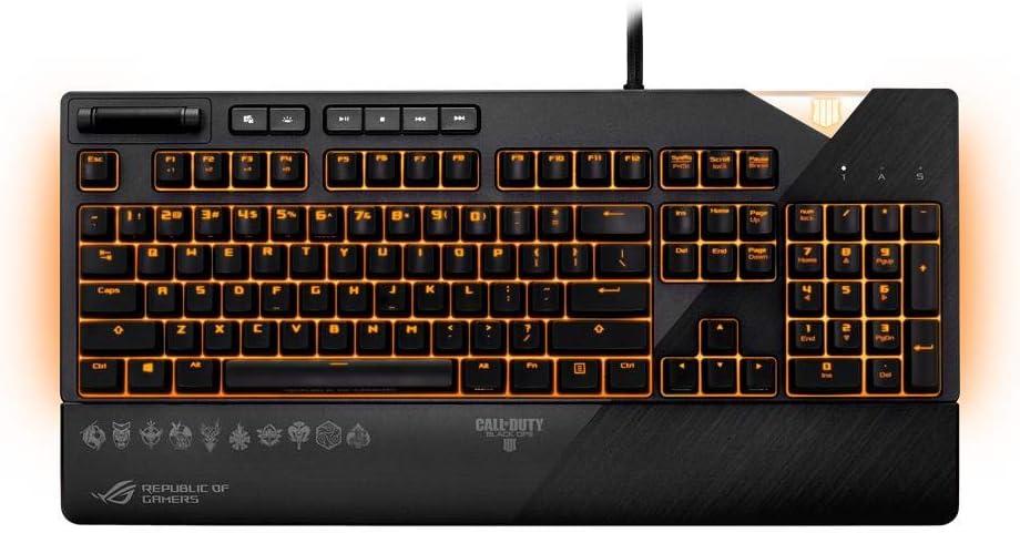 Asus Rog Strix Flare Call of Duty - Teclado Mecánico con interruptores Cherry MX RGB, Personalizable, Reposamuñecas Desmontable, USB, Tecnología Aura ...