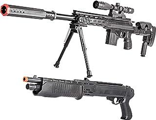 BBTac Airsoft Sniper Gun Package - Powerful Spring Sniper Rifle, Shotgun, 6mm BB Pellets, Great Starter Pack