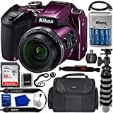 Nikon COOLPIX B500 Digital Camera (Plum) with Essential Accessory Bundle – Includes: SanDisk Ultra 16GB SDHC Memory Card, Rechargeable Batteries (4-AA) w/Dock Charger, Protective Carrying Case & More
