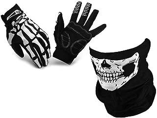 MIFO スカルフェイスマスクとスケルトン手袋セット フェイスカバー ネックウォーマー アウトドア ボーングローブ (手袋L)