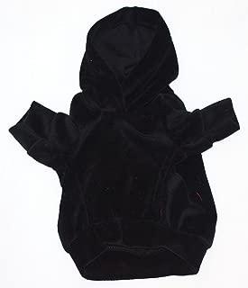 The Dog Squad Velour Pullover Pet Hoodie, Medium, Black