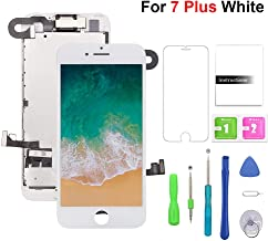 Compatible with iPhone 7plus Screen Replacement (White 5.5''),LCD Display & Touch Screen Digitizer Frame Assembly Set with Free Repair Tool (Front Camera+Sensor Flex+Speaker+Screen Protector)