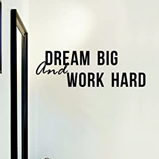 TRAHOME Decal Wall Quote Sayings Stickers Quotes Vinyl Inspirational Wall Decals Words Letters (Dream Big & Work Hard)