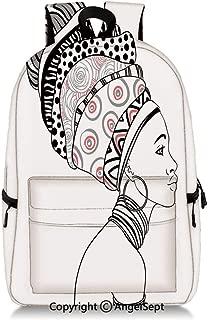 Large Capacity Backpack Exotic Safari Lady in Boho Turban Glamour