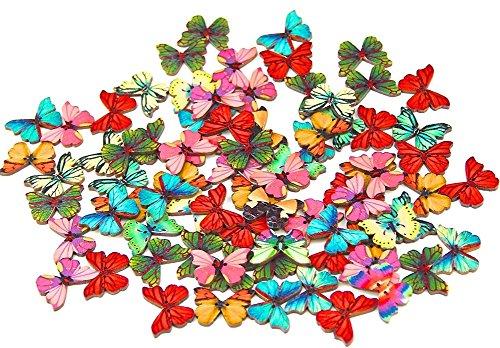 Da.Wa 50 botones de madera de 28 mm, 2 agujeros, botones de madera, botones en forma de mariposas, para manualidades, tejer, ropa de bebé, colores variados