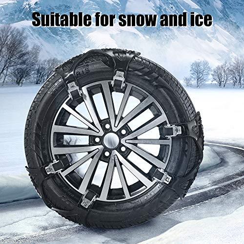 TOPQSC Auto Schneekette 6 Stück Reifenketten Rutschfester Reifen Notfallketten auf Schnee- und Eisstraße, Sand- und Schlammstraße Für Reifenbreiten von 165mm-285mm