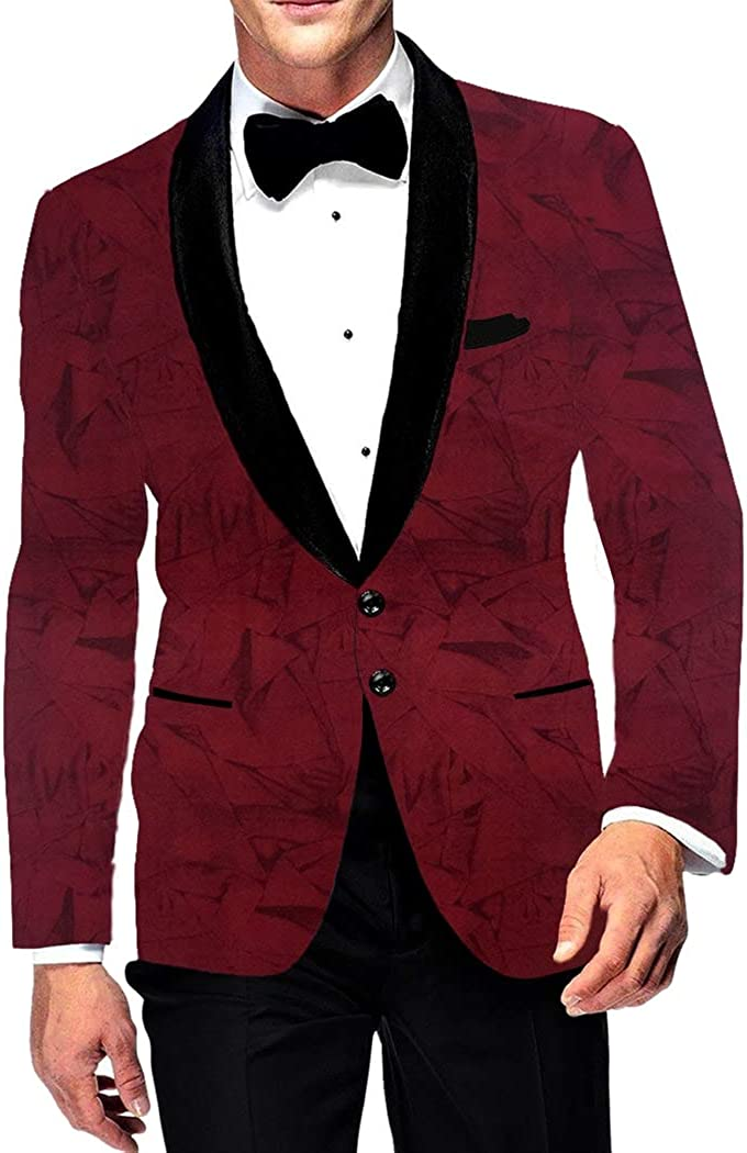 INMONARCH Mens Slim fit Casual Wine Blazer Sport Jacket Coat Two Button Polyester Suede SB19235