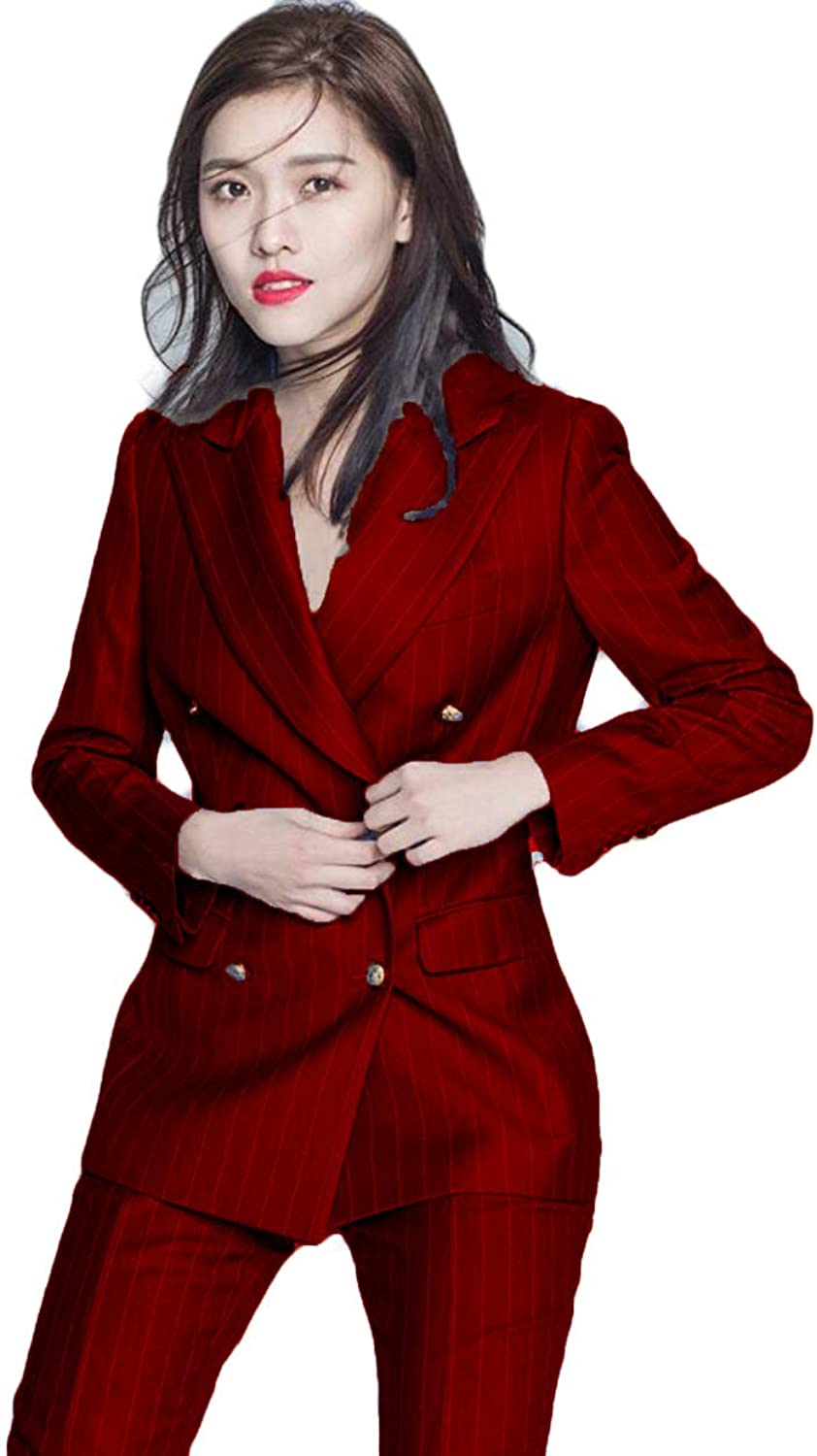 WZW Work Business Pant Suits 2 Piece Double Breasted Stripe Blazer Jacket&Pant Office Lady Suit