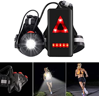 ALOVECO Night Running Lights for Runners, 90° Adjustable Beam LED Chest Light Back Warning Light, Lightweight Trail Runnin...