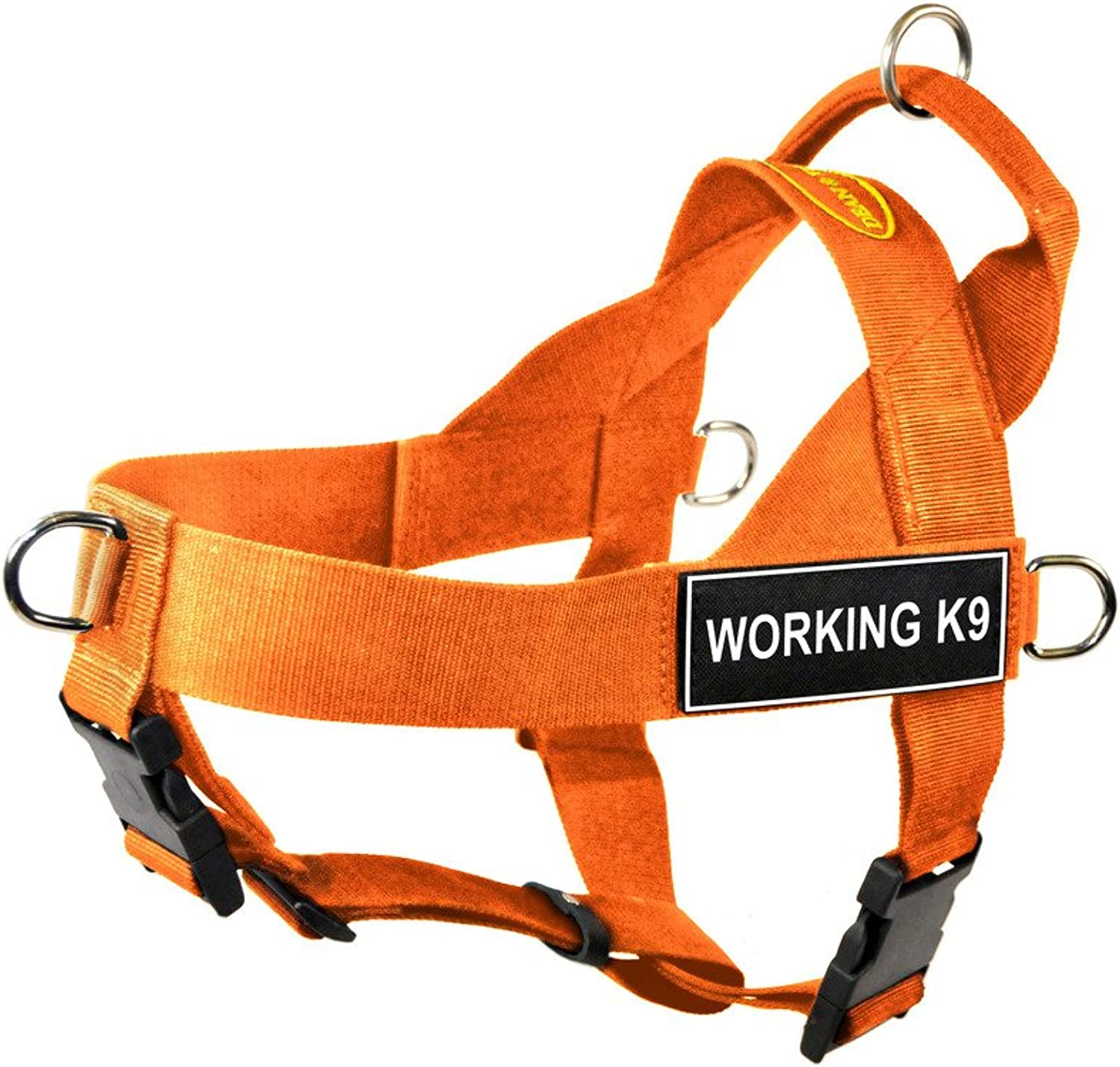 Dean & Tyler DT Universal No Pull Dog Harness with Working K9 Patches, orange, XSmall