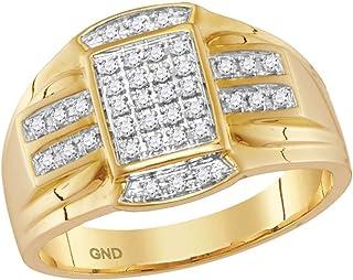 anillo rectángulo de oro amarillo diamante para hombre