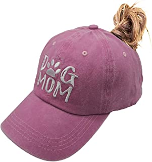 OASCUVER Women's Dog Mom Hat Ponytail Adjustable Vintage Washed Distressed Denim Baseball Dad Cap