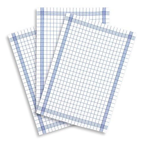 KRACHT, 3er-Set Geschirrtuch Halbleinen Trockenperle classic blau, Edition ziczac-affaires, ca.60x80cm