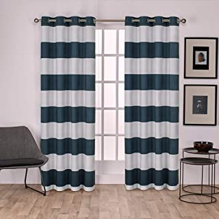 Exclusive Home Curtains Surfside Cabana Stripe Cotton Window Curtain Panel Pair with Grommet Top, 54x96, Indigo, 2 Piece