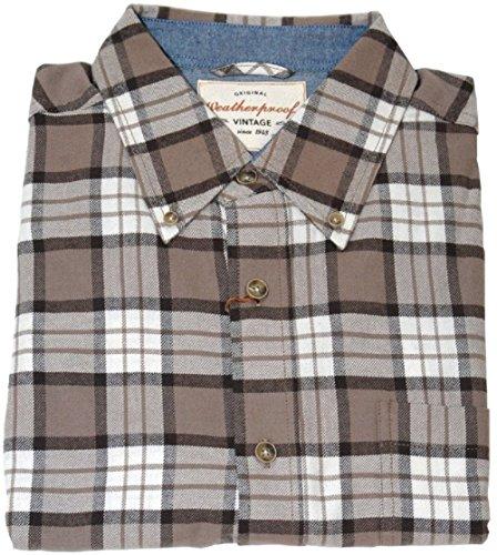 Weatherproof Vintage Men's Lightweight Plaid Flannel Shirt Tan XXL