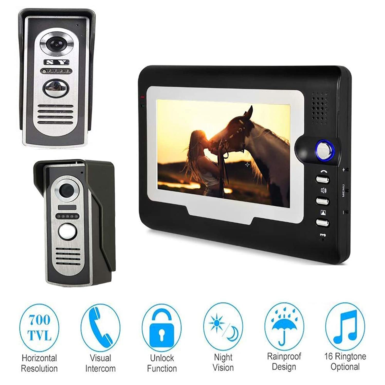 JINPENGPEN 7-Inch Smart Video Doorbell Remote Intercom Access Control System HD Infrared Camera,2/1