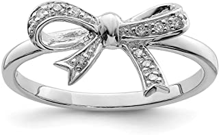 925 Sterling Silver Diamond Bow Band Ring Fine Jewelry For Women Gift Set