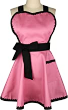 Violet Mist Women Apron with Extra Pocket Lovely Retro Cotton Cooking Polka Dot Valentine's Day Apron Dress Gift, Pink 1